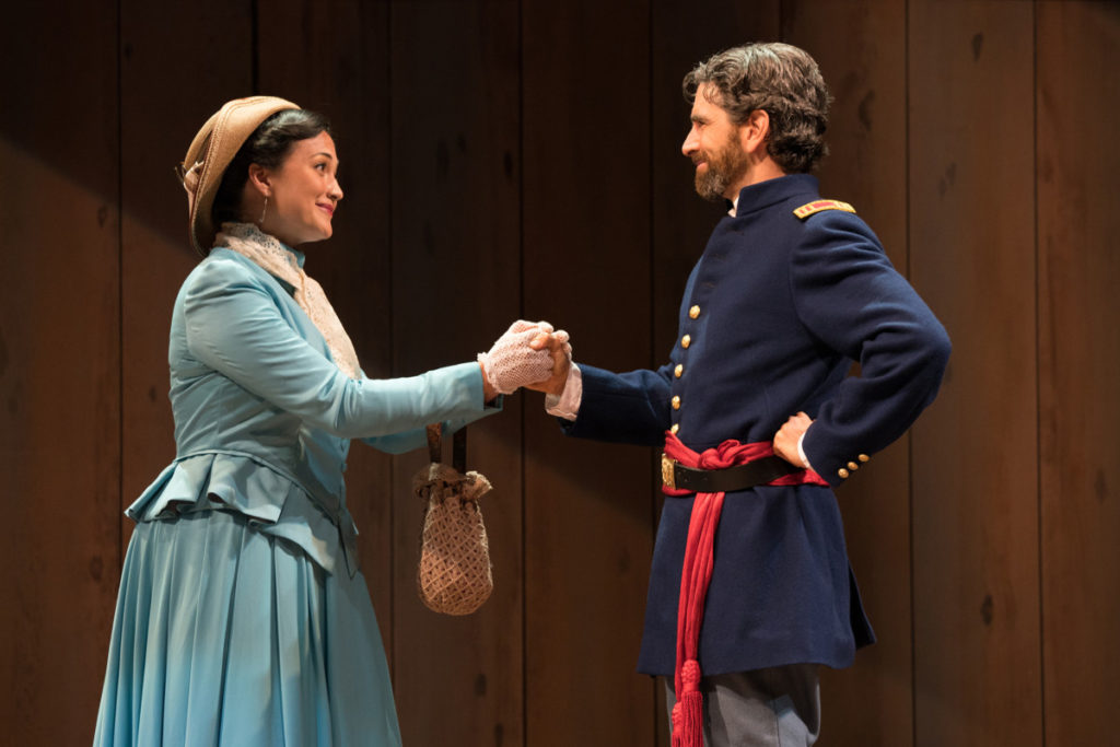 Isabel (Lily Gladstone, left) has come to plead with Angelo (Barret O'Brien) to spare her brother's life. Photo by Jenny Graham, Oregon Shakespeare Festival.
