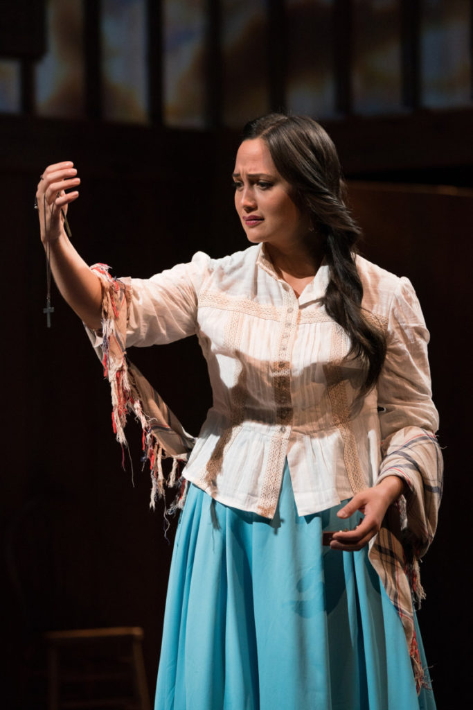 Isabel's (Lily Gladstone) belief that her people can be saved by embracing the white man's ways is challenged by injustice. Photo by Jenny Graham, Oregon Shakespeare Festival.