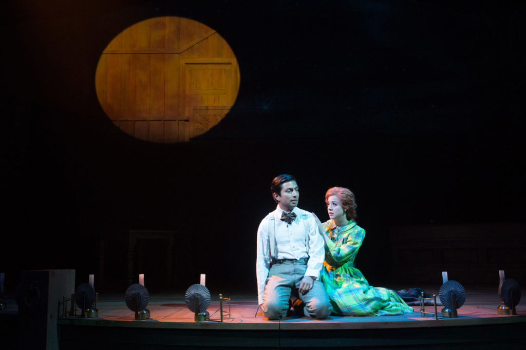 Momaday (Shaun Taylor-Corbett) and Caitlin (Truett Felt) wonder what the future holds for their forbidden relationship and unborn child. Photo by Jenny Graham, Oregon Shakespeare Festival.