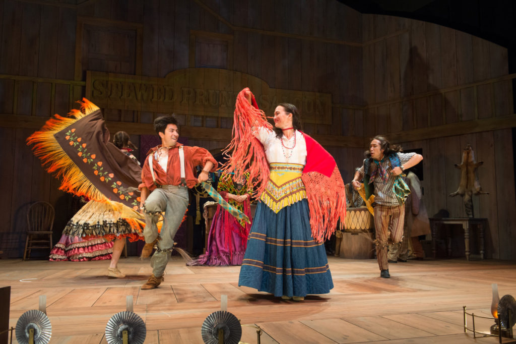 """""""In the boarding schools we couldn't sing and dance."""" Jen Olivares, Shaun Taylor-Corbett, Lily Gladstone and Román Zaragoza are among the seven Native actors in the cast of Off the Rails. Photo by Jenny Graham, Oregon Shakespeare Festival."""